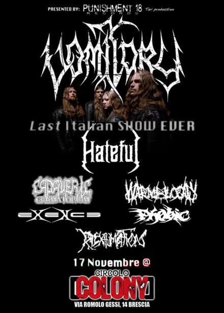 Running order of the last show with Vomitory in Italy at Circolo Colony (BS)