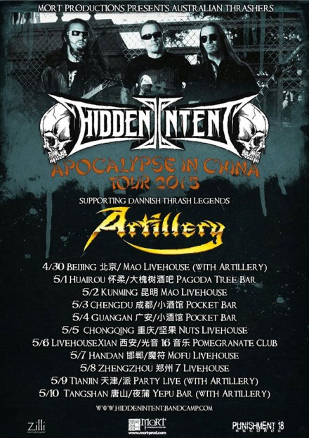 Hidden Intent: 'Apocalypse In Chine Tour 2015′ live supporting Artillery